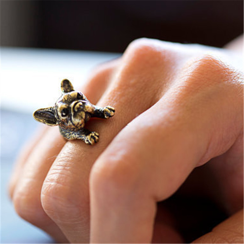 1 Ring Retro Animal Antique Adjustable Rings For Women Handmade French Bulldog Rings Wrap Ring Fashion Gold Sliver Color