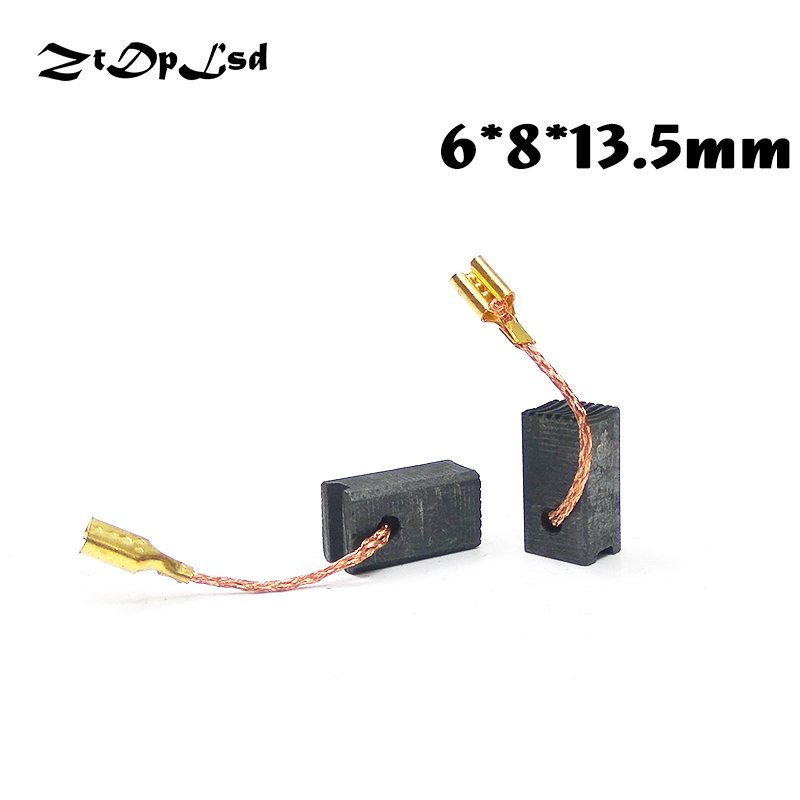 ZtDpLsd 2 Pcs/Pair 6x8x13.5mm Mini Drill Electric Grinder Replacement Carbon Brushes Spare Part For Electric Rotary Tool