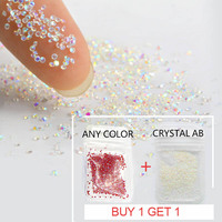 Buy 1 get free 1 Crystal 1.1mm Mini Nail Rhinestone Micro Nail Rhinestones For Nails Art Decorations Manicure Accessoires