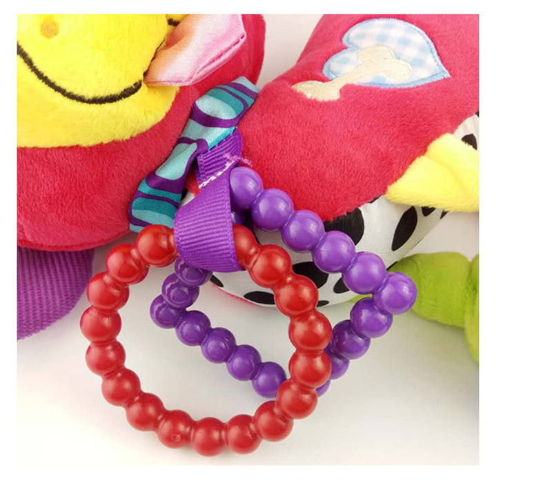 35*22CM Musical Cute Rattles Bed Crib Stroller Kids Stuffed Doll Vibrator Dog Hand Bell Shake RingToy With Teether D012 12