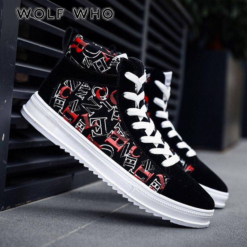 ca7367a8b WOLF WHO классические мужские туфли Новые 2018 высокие мужские повседневные  туфли Винтажный стиль мужские кроссовки дышащие