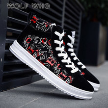 WOLF WHO Classic Men Shoes New 2018 High Top Men's Casual Shoes Vintage Style Male sneakers Breathable Plimsolls krasovki X-146(China)