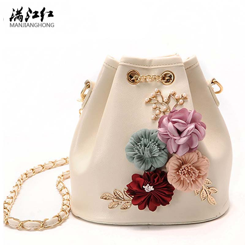 Women Messenger Bags Good Quality Women Shoulder Bag Ladies Chain Clutches Flower Bucket Women Crossbody Bags