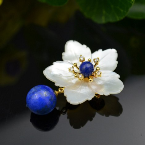925 pure silver natural shells flowers double beads lapis lazuli chic brooches pendants925 pure silver natural shells flowers double beads lapis lazuli chic brooches pendants
