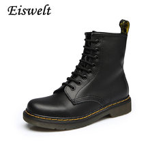 Women Ankle Boots 2016 Spring Fall Genuine Leather Lace Up Land Shoes Punk White Black Colors Plus Size 42  #HDS161