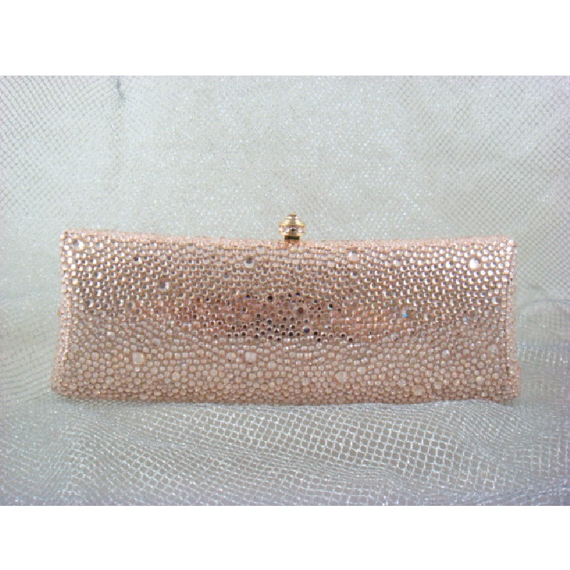 ФОТО 7757P PEACH Crystal Lady fashion Bridal Party Night Metal Evening purse clutch bag case box handbag