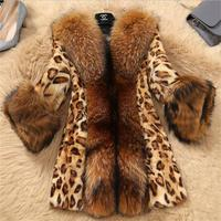 2019 новые женские осенние зимние куртки из искусственного меха леопардовые норковые шубы из искусственного меха енота воротник большие раз