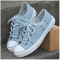 fashion women's blue canvas flower print pink canvas shoes for girl lace up casual shoes