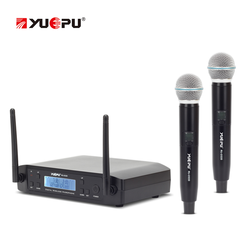 YUEPU RU-D220 UHF Microphone Wireless Professional 2 Channel Frequency Adjustable Cordless Perfect For Church Karaoke Club Use micwl uhf 2 lavalier lapel microphone wireless professional two channels frequency adjustable perfect for church karaoke club