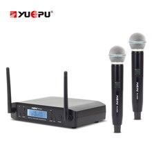 YUEPU RU-D220 UHF Microfone Sem Fio Profissional 2 Canais de Freqüência Ajustável Sem Fio Perfeito Para A Igreja Karaoke Uso Do Clube