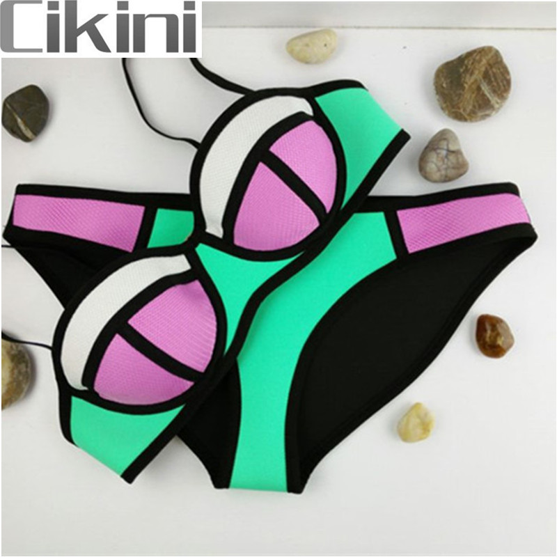 Neoprene Swimwear Women  Bikinis Woman New Summer Sexy Swimsuit Bath Suit Push Up Bikini set Bathsuit TA05 Cikini neoprene swimwear women bikini woman new summer 2017 sexy swimsuit bath suit push up bikini set bathsuit ta008y