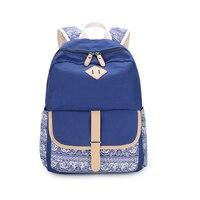 Dark Blue Flower Fabric Children School Bags For Girls Printing Backpack Kids Bag Women Travel Bags
