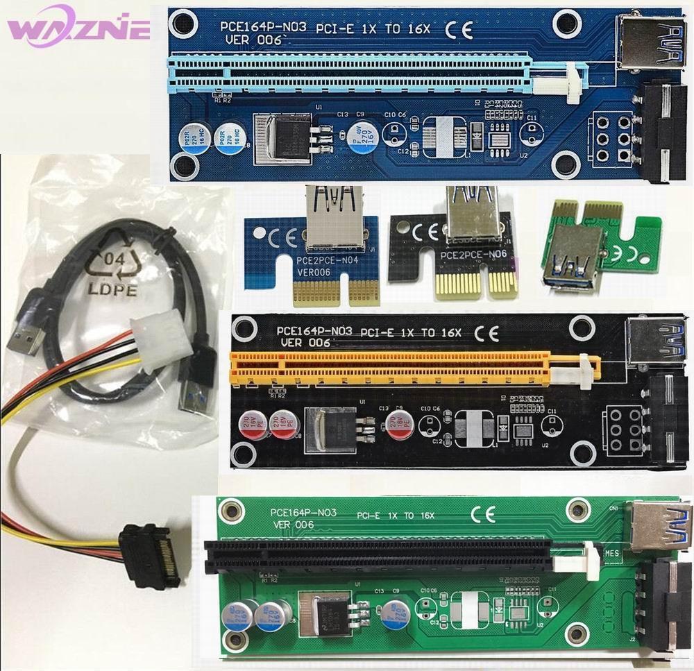 Prix pour 25 pcs PCI-E PCI E Express 1X à 16X carte graphique Riser carte USB 3.0 Câble D'extension avec Alimentation Pour Bitcoin Litecoin mineur