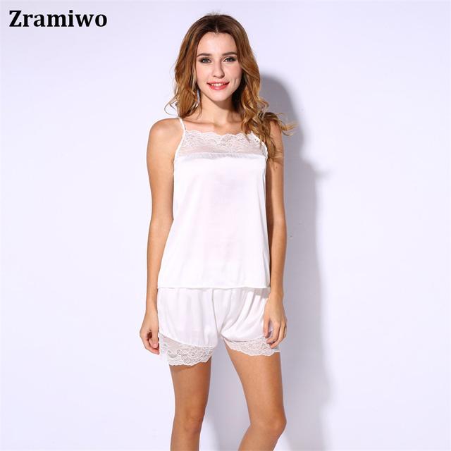Pijamas de satén de Encaje Conjunto Cómoda Ropa de Dormir Camisones Pretty Camisones Camisola de Seda Artificial Conjuntos Cortos