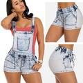 Nuevo Flaco Denim Shorts Generales Tirantes Tirantes Cintura Elestic Pantalones Cortos Muchacha de Las Mujeres Pantalones Vaqueros Cortos Ml XL 2XL