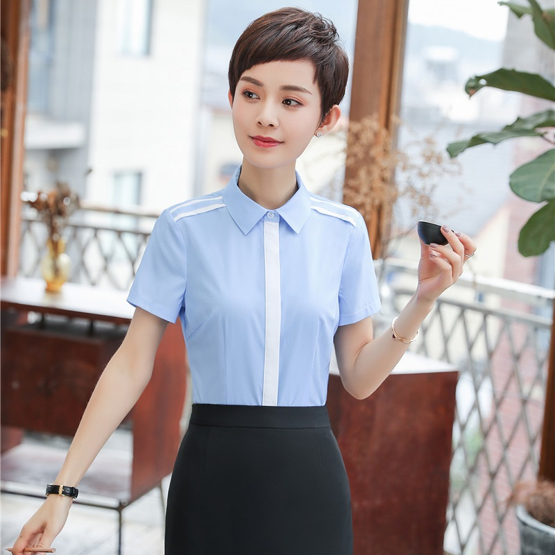 OcEaN Ladies Tops Women Shirt Chiffon Work Office Short-Sleeve Solid Color Casual Plus Size Top