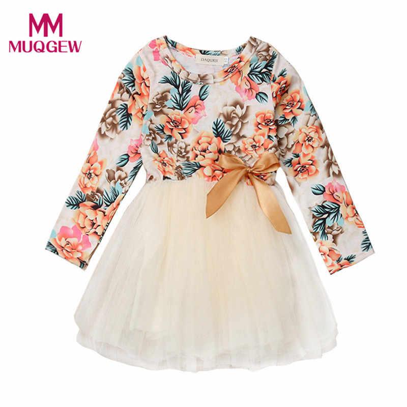 7521024c91636 Infant Baby Girls Long Sleeve Floral Print Bowknot Tutu Dress Clothes girl  dresses kids casual 2019 roupa infantil menina #sg