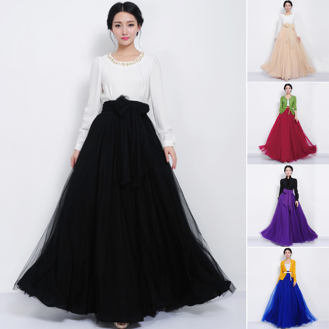 8cfc1bc9aa2 Women Elastic Skirt High Waist Tulle Mesh Skirts Pleated Multi Layer ...