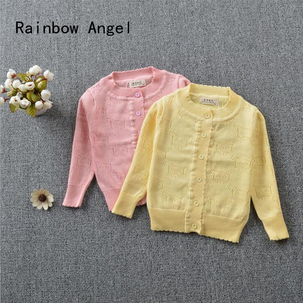 Girl Autumn Cardigan Sweater Spring Hollow out design Sweater Child Cotton Outwear ...