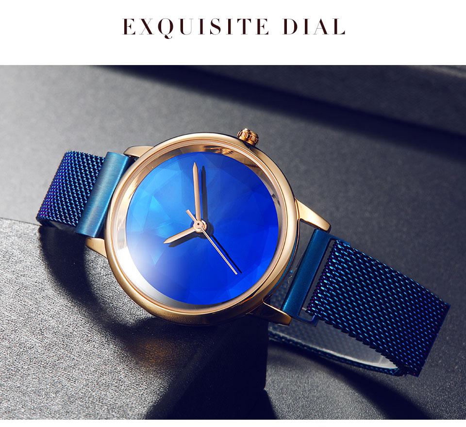 Luxo de Aço Inoxidável Ladies Quartz Watch