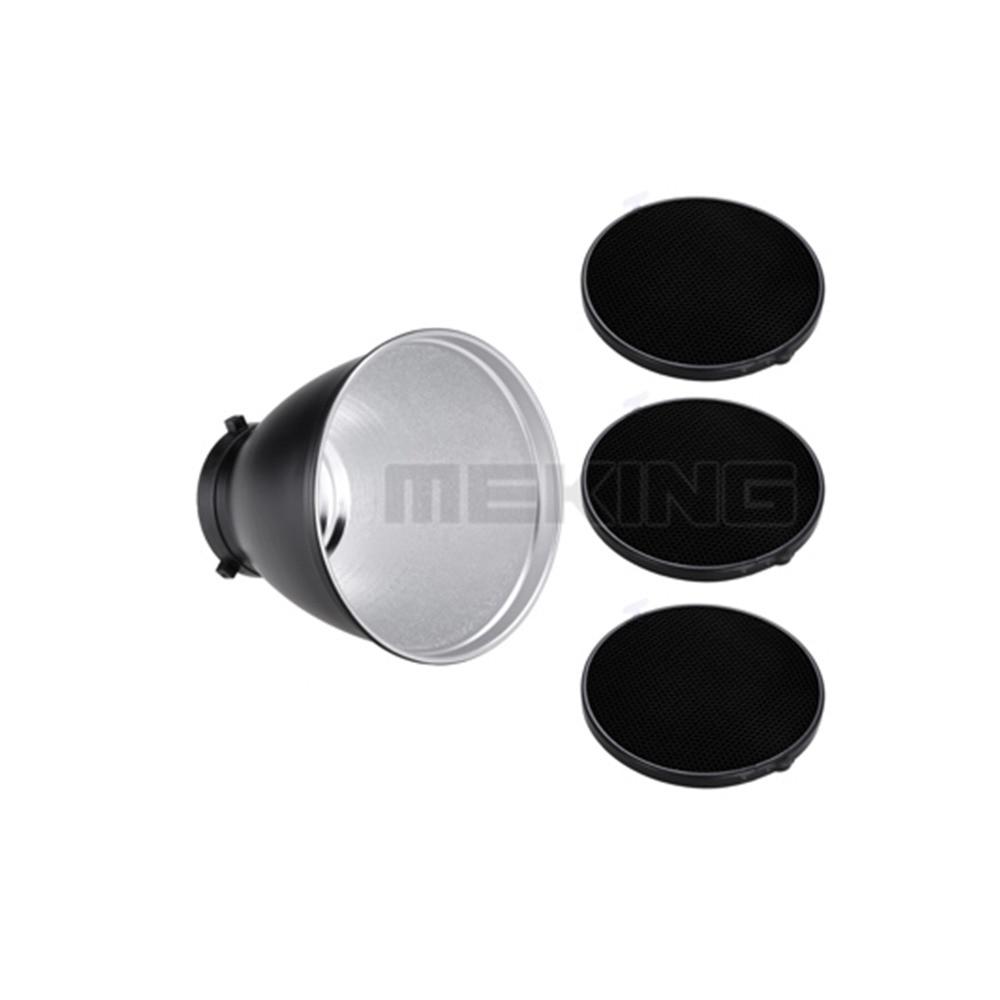 Meking Photo Studio FLash Reflector light control with 3pcs grid for Bowens Mount photographic light