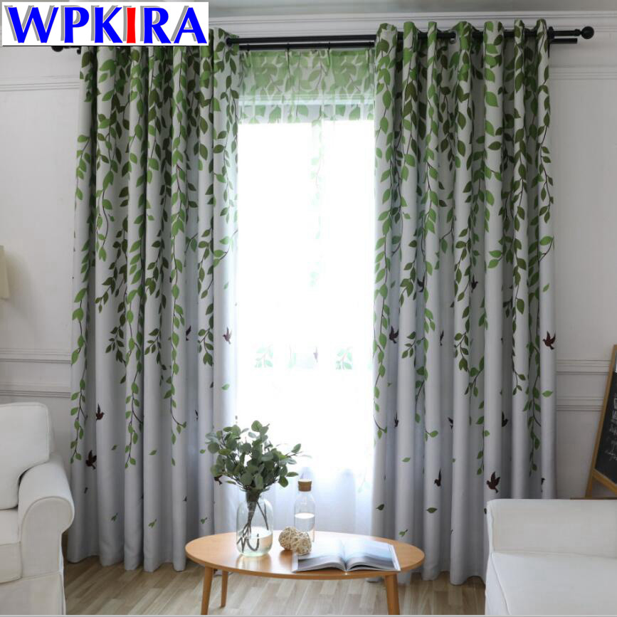 US $5.07 35% OFF|Blackout Curtains for Living Room American Rustic  Decorative Kitchen Window Birds Willow Printed Bedroom Curtains Panel WP207  30-in ...