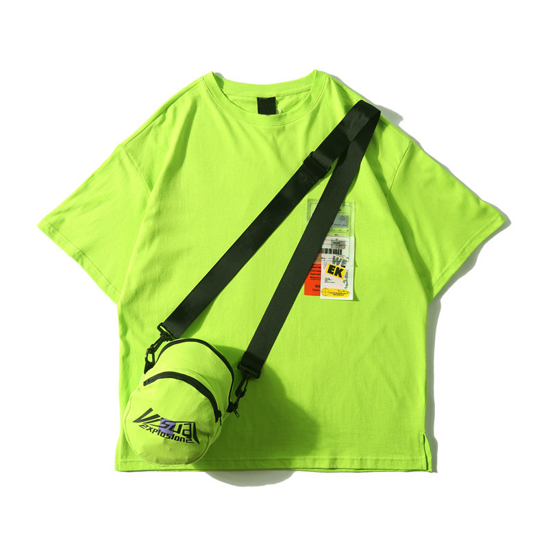Dark Icon Side Split Fluorescent Green T-shirt with Messenger Bag Hiphop Tshirt Men Cotton Tee Shirts Streetwear Clothing 28