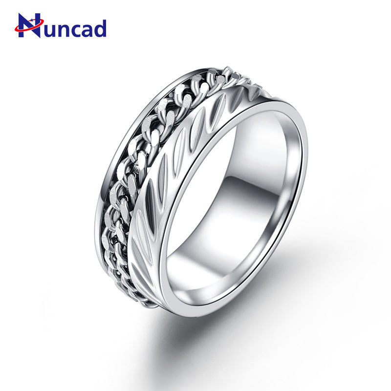 Mens Stainless Steel Punk Rings Big Chains Silver Color