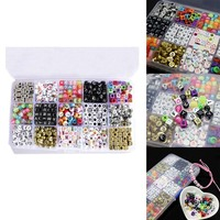 15Color/1100pcs Letter Beads for Customize Name on Pacifier Clips Mixed Shape DIY Acrylic Alphabet Beads CX17