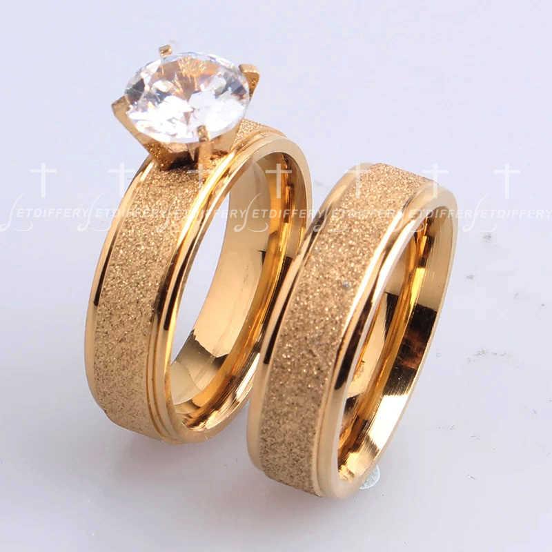 Letdiffery ブリンブリン立方ジルコンマット結婚指輪カップルのためのゴールドチタンステンレス鋼ロマンチックなアニバーサリー女性ジュエリー