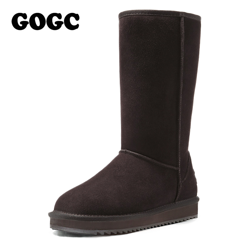 GOGC 2018 New Arrival Women's Winter Shoes for Women Warm Women's Boots Female Footwear Made of Genuine Leather Winter Boots Fur 2017 new arrival kind of shoes waterproof leather boots us7