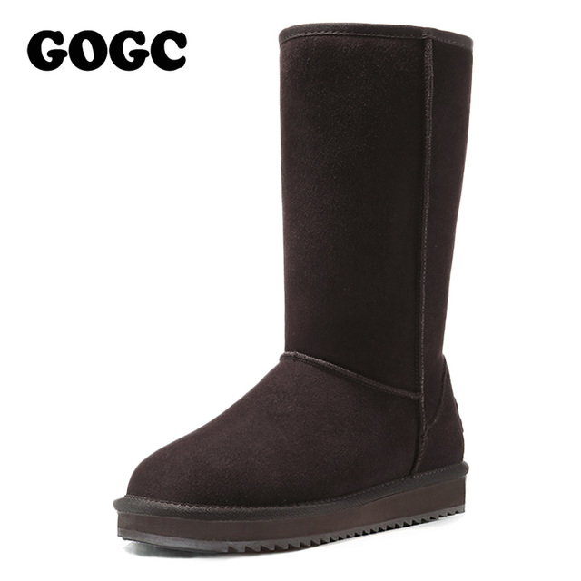 Gogc 2017 nueva llegada de las mujeres zapatos de invierno para las mujeres caliente Botas Calzado Femenino de Cuero Genuino de las mujeres Botas de Invierno de piel