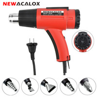 NEWACALOX 1500W 220V EU Adjustable Temp Heat Gun Industrial Electric Hot Air Guns with 5pcs Nozzles Blower Shrink Wrapping