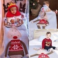 Baby Blanket Newborn Cute Big Deer Elk 3D Soft Warm Knitted Swaddle Wrap Toddler Infant Bedding Quilt Bath Towel Cover Christmas