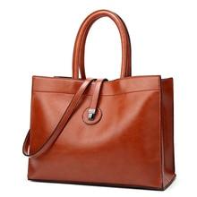 цена на Women Tote Bag Oil Wax Women Leather Handbags Big Casual Tote Famous Brands High Capacity Female Lock Shoulder Crossbody Bag