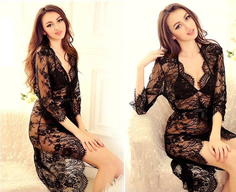 сексуальное женское белье erctic белье lenceria искушение черный/белый кружева из трех частей: бюстгальтер + t стринги + халат, femme sexy пижамы наборы
