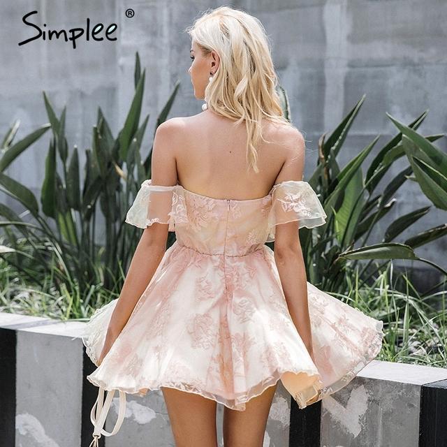 Simplee Off shoulder flower mesh summer dress women Elegant high waist backless mini dress 2017 Fashion strapless party dresses