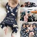 2016 Moda Bebê Romper Bebê Recém-nascido Bebes Alces Do Natal Da Menina do Menino Roupas Outono Inverno de Manga Comprida Macacão Macacão