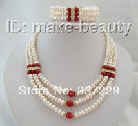 Wholesale price 3rows 8mm baroque white pearls red coral necklace bracelet a set