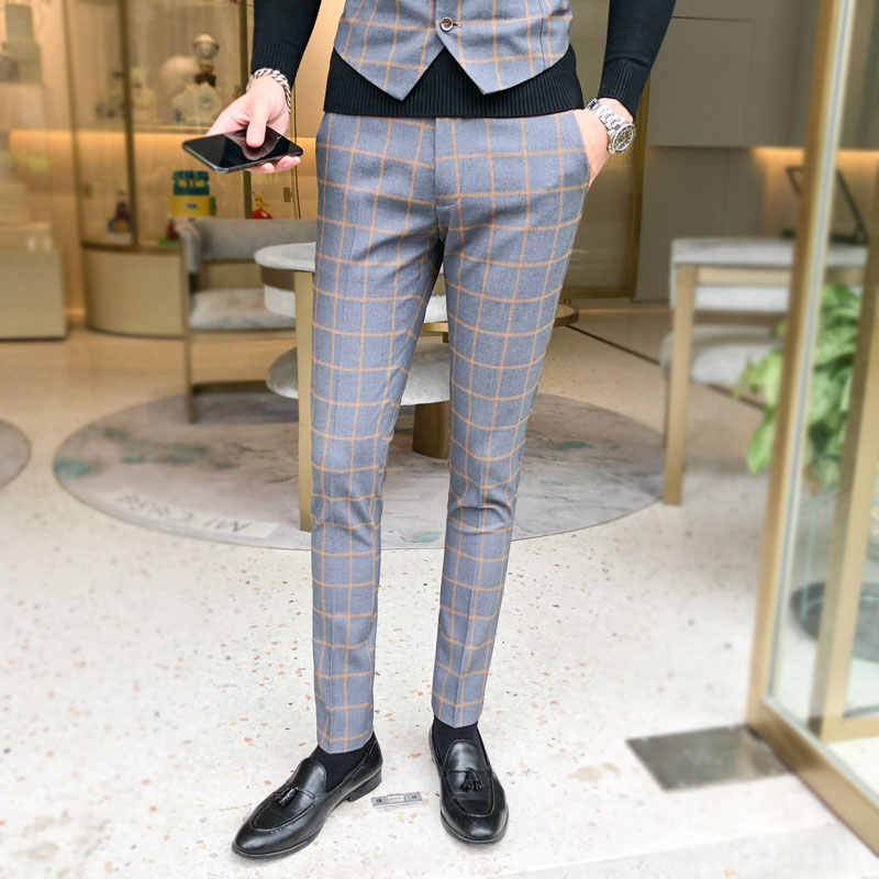 Men's pants/men's high-end cotton plaid slim business suit pants/men's high-end casual skinny pants  14 colors, size S - 5 xl