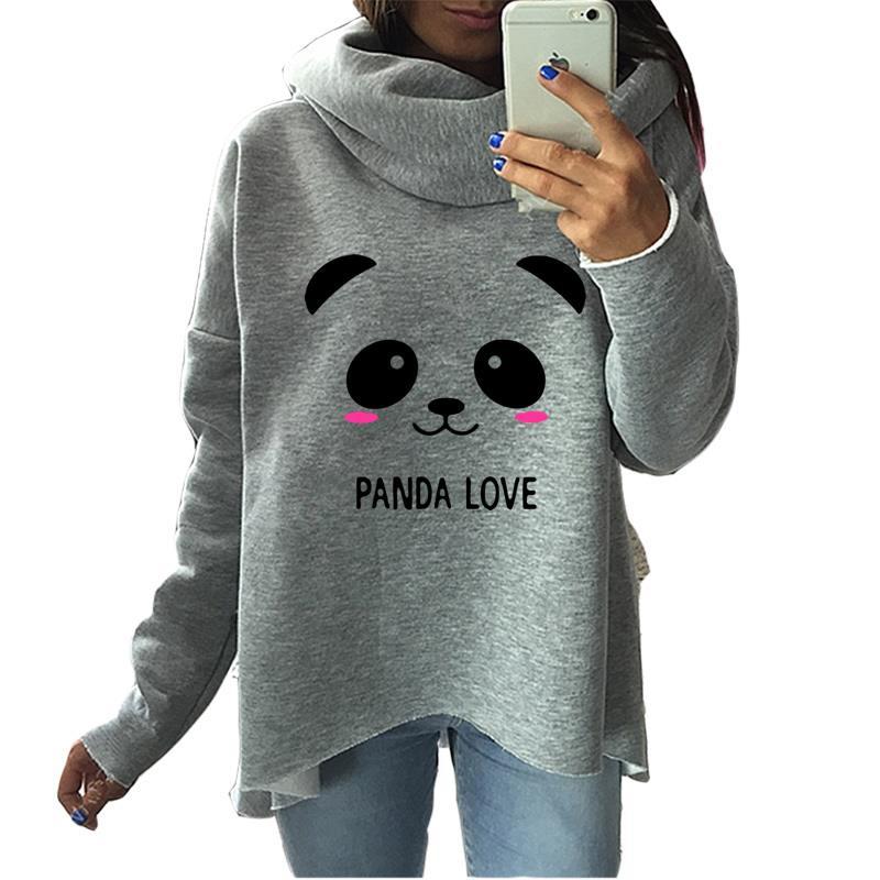 2017 Fashion Panda Christmas Clothes Women Hoodies Winter Scarf Collar Long Sleeve Casual Cartoon Sweatshirts Pullovers Rough
