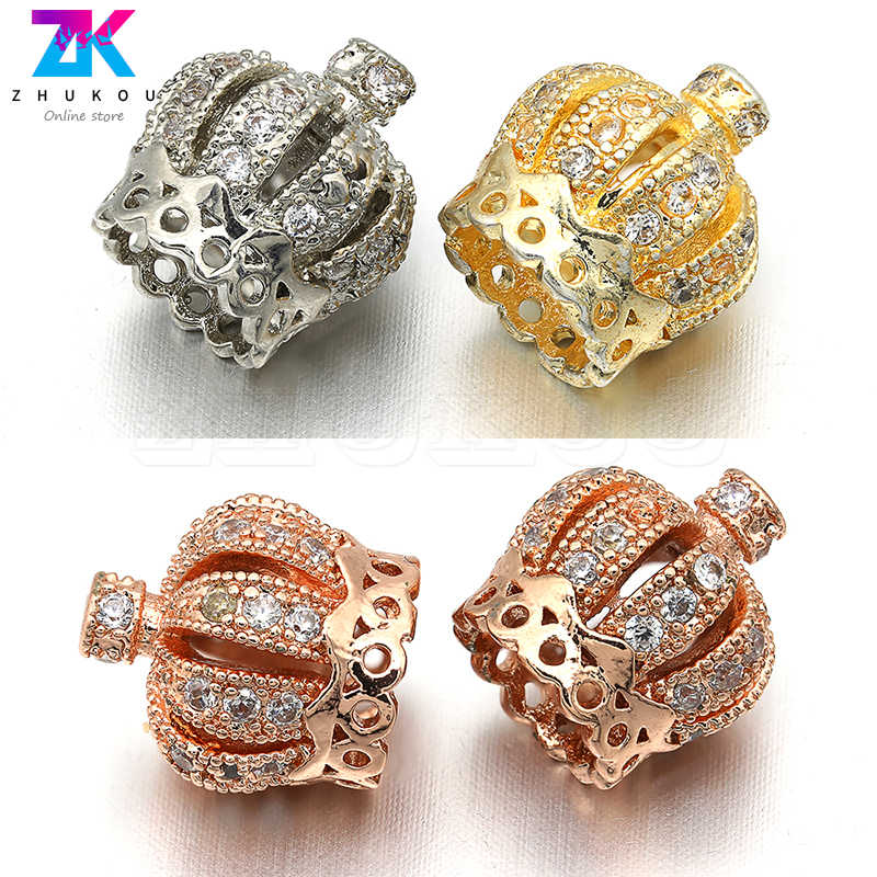 ZHUKOU VM8 10*11mm New arrival Crown Accessories for Jewelry Cubic Zirconia hand made diy earring jewelry Connectors Wholesale
