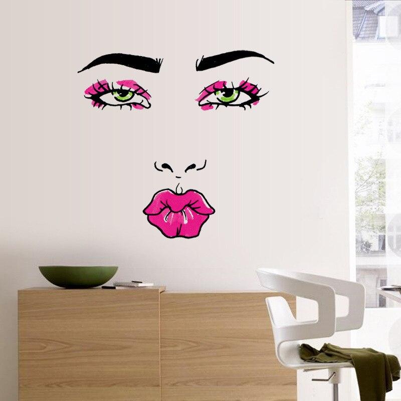 Labios moda mujer de habitaciones diy pegatinas de pared de la casa de la famili