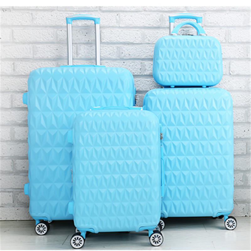 Wholesale!Female 20 24 abs pc trolley luggage bags on universal wheels,high quality candy color travel luggage bag for girl gift