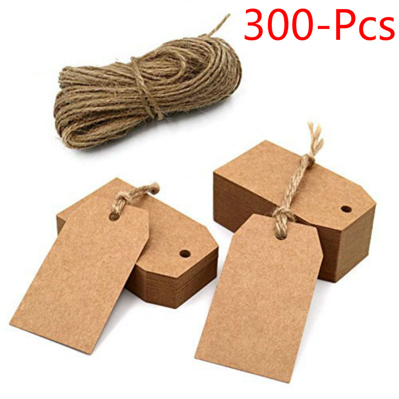 300pcs Brown Kraft Paper Tags With Hole For Wedding Or Party Decoration Gift Tags And Packaging Hang Tags Is Customized Labels