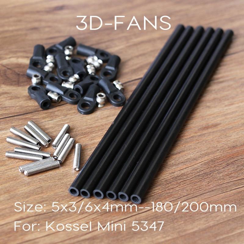 Hot!6pcs 3d Printer Parts Delta Kossel 6*4mm 100-500mm 3k Fiber Carbon Push Rod Parallel Arm Suitable For Mini 5347 K800 Crease-Resistance 3d Printers & 3d Scanners