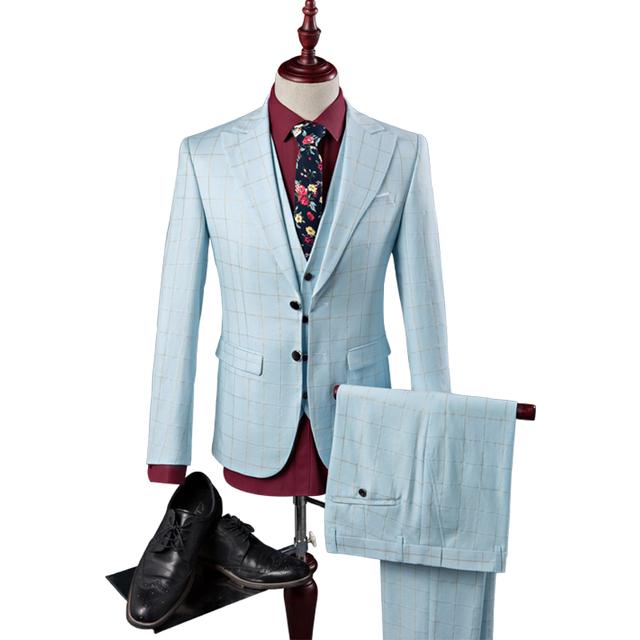 3 Homens Terno de Alta Qualidade Vestido de Noiva Slim Fit Para Os Homens britânico Dois Botões Tuxedo Ternos Roupas Casuais Céu Azul S-3XL