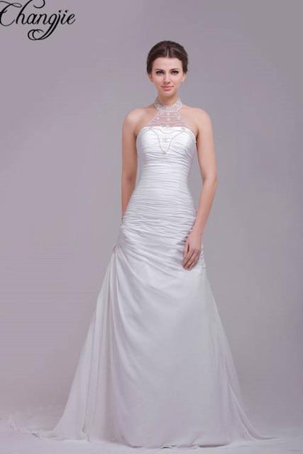 62f6a71c8 Impresionante Hermosa Cabestro Satinado Vestidos de Novia de Encaje Para  Arriba Detrás Tribunal Tren Barato Vestidos