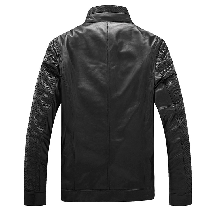 Men\'s high quality Sheepskin Leather Jackets Coat Men\'s jacket Motorcycle jacket Coat parka Men\'s leather python skin Warm (23)