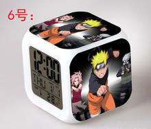 Naruto LED 7 Color Flash Digital Alarm Clocks Kids Night Light